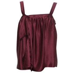 Saint Laurent Burgundy Silk Satin Bow Detail Sleeveless Top M