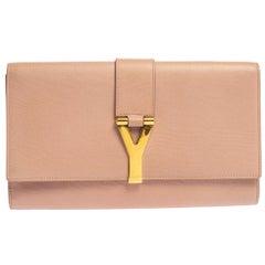 Saint Laurent Bush Pink Leather Y-Ligne Clutch