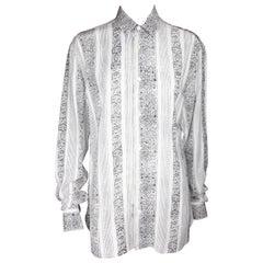 Saint Laurent Button Down White & Black Collar Shirt Size 38