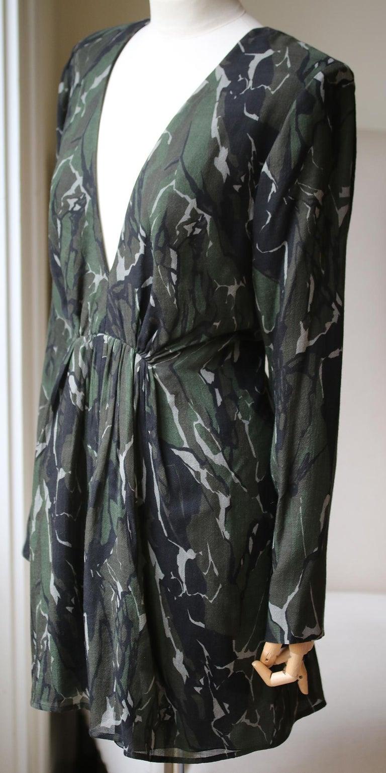 Black Saint Laurent Camouflage Plunging Mini Dress  For Sale