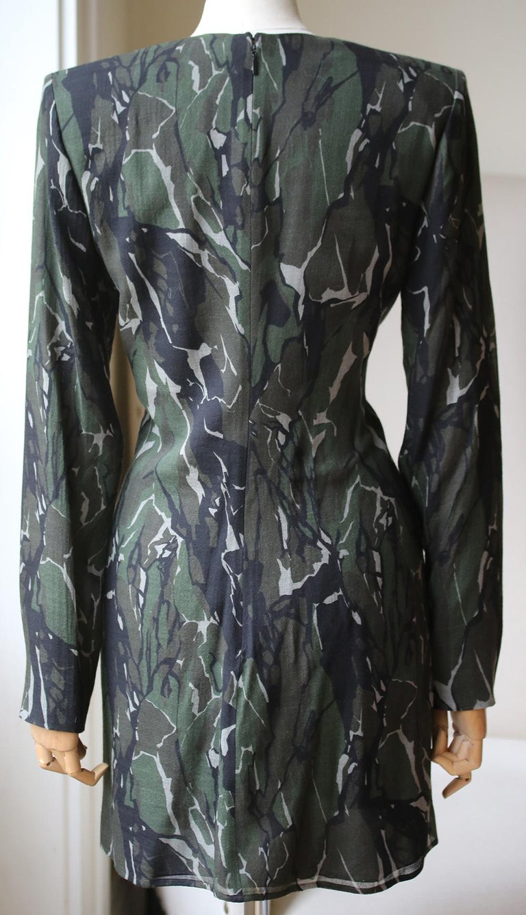 Saint Laurent Camouflage Plunging Mini Dress  In Excellent Condition For Sale In London, GB