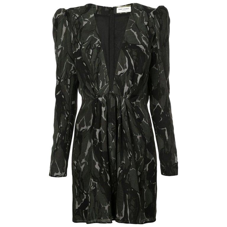 Saint Laurent Camouflage Plunging Mini Dress  For Sale