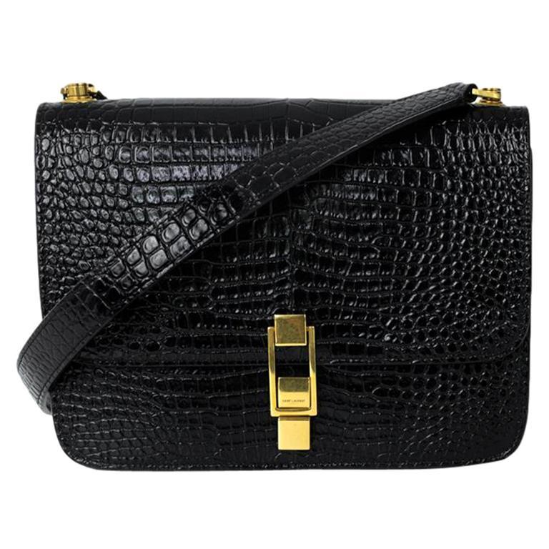 SAINT LAURENT Carre Shoulder bag in Black Leather
