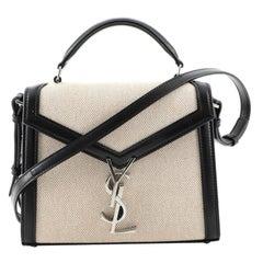 Saint Laurent Cassandra Top Handle Bag Canvas with Leather Mini