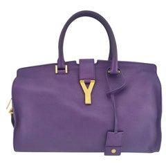 SAINT LAURENT Chyc Handbag in Purple Leather