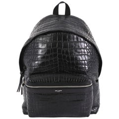 Saint Laurent City Backpack Crocodile Embossed Leather Medium