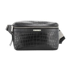 Saint Laurent City Belt Bag Crocodile Embossed Leather