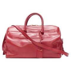 SAINT LAURENT Classic Duffle 6 red leahter top handle shoulder strap boston bag