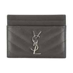 Saint Laurent Classic Monogram Card Case Matelasse Chevron Leather