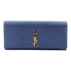Saint Laurent Classic Monogram Clutch Metallic Calfskin Long