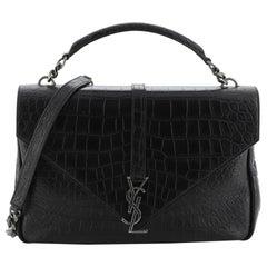 Saint Laurent Classic Monogram College Bag Crocodile Embossed Leather Large