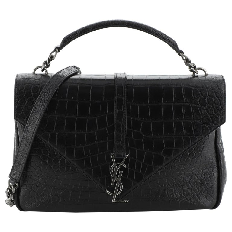 Saint Laurent Classic Monogram College Bag Crocodile