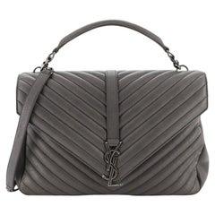 Saint Laurent Classic Monogram College Bag Matelasse Chevron Leather Larg