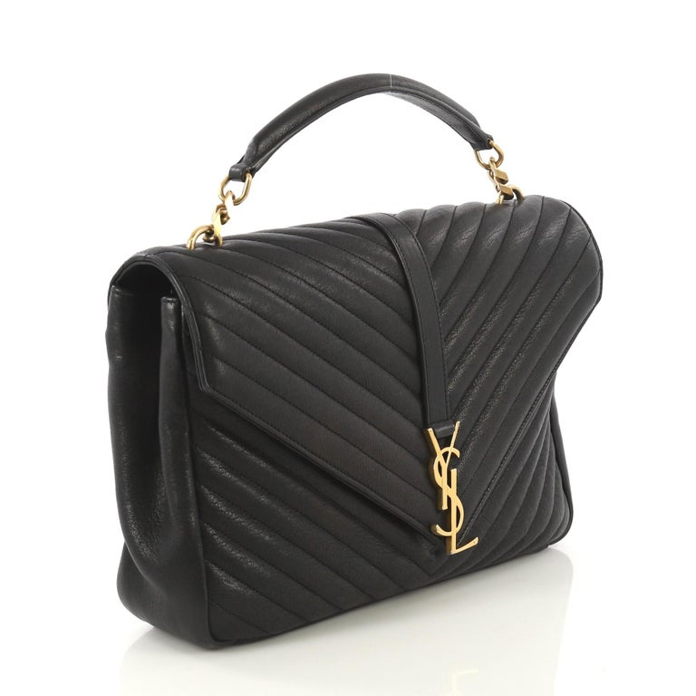 59c669d9f86 This Saint Laurent Classic Monogram College Bag Matelasse Chevron Leather  Large, crafted in black matelasse