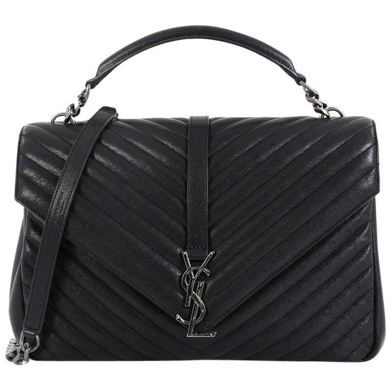 a19d382b3df Saint Laurent Classic Monogram College Bag Matelasse Chevron Leather Large  For Sale