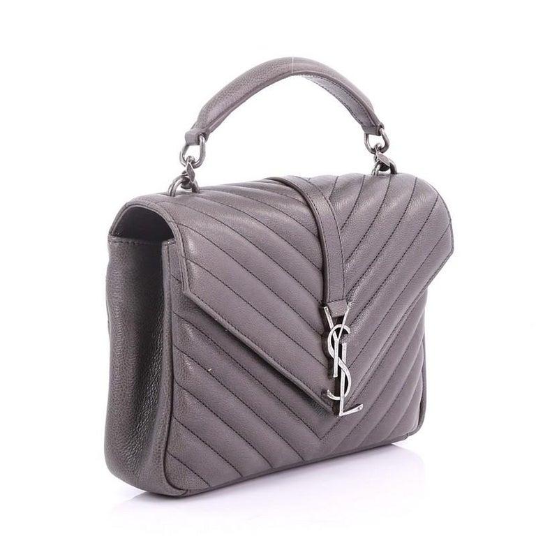 e6cac87fbae Gray Saint Laurent Classic Monogram College Bag Matelasse Chevron Leather  Medium For Sale