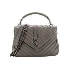 Saint Laurent Classic Monogram College Bag Matelasse Chevron Leather Medium