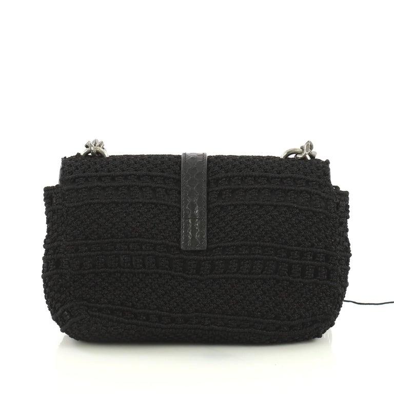 Black Saint Laurent Classic Monogram Crossbody Bag Crochet Over Leather Baby