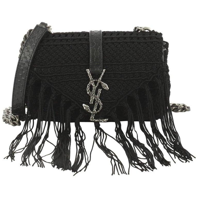 Saint Laurent Classic Monogram Crossbody Bag Crochet Over Leather Baby