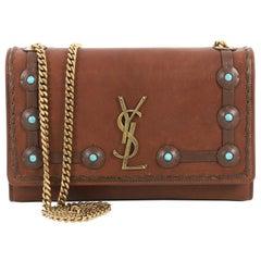 Saint Laurent Classic Monogram Crossbody Bag Leather with Turquoise Medium