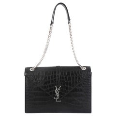 Saint Laurent Classic Monogram Envelope Satchel Crocodile Embossed Leather Large