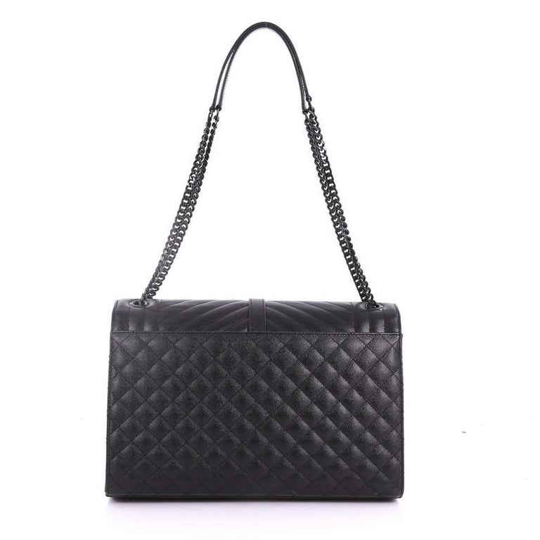 Saint Laurent Classic Monogram Envelope Satchel Quilted Leather Large In  Excellent Condition For Sale In New 091bdb5206b83