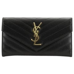 Saint Laurent Classic Monogram Flap Wallet Matelasse Chevron Leather Larg
