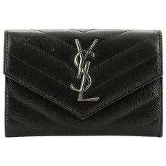 Saint Laurent  Classic Monogram Flap Wallet Matelasse Chevron Leather Small