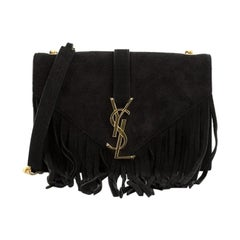 Saint Laurent  Classic Monogram Fringe Crossbody Bag Suede Small