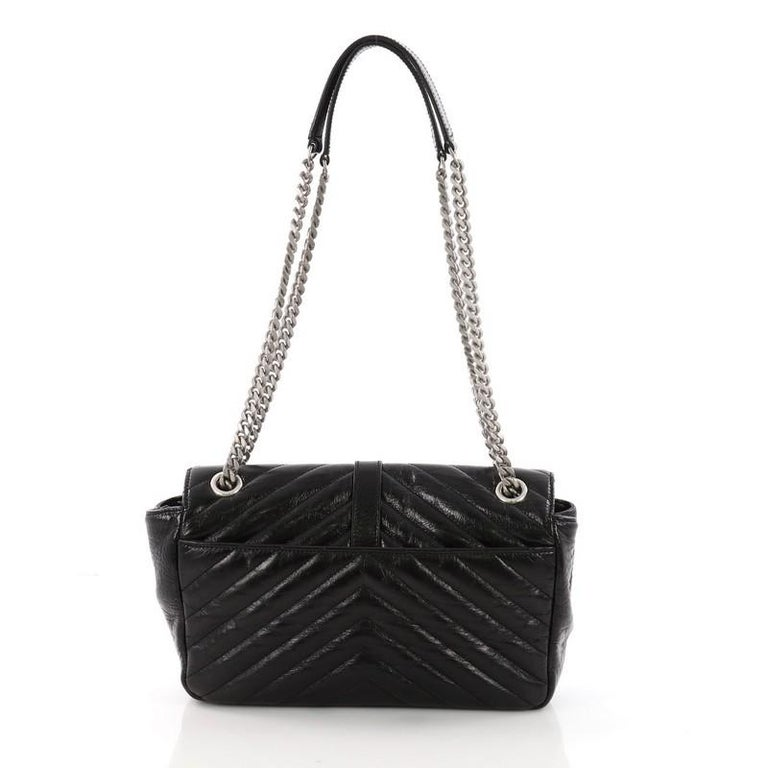 Saint Laurent Classic Monogram Punk Chain Bag Matelasse Chevron Leather  Medium In Good Condition For Sale 86baf2a59ab20