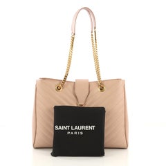 Saint Laurent Classic Monogram Shopper Matelasse Chevron Leather Large