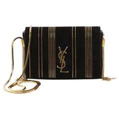Saint Laurent Classic Monogram Side Tassel Crossbody Bag Embellished Suede