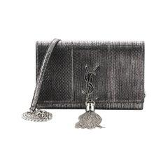 Saint Laurent Classic Monogram Tassel Chain Wallet Python Embossed Leather