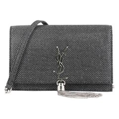 Saint Laurent Classic Monogram Tassel Chain Wallet Woven Fabric