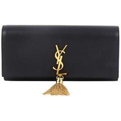Saint Laurent Classic Monogram Tassel Clutch Leather Long