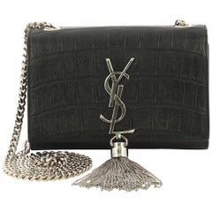 Saint Laurent Classic Monogram Tassel Crossbody Bag Crocodile Embossed Leather