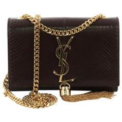 Saint Laurent Classic Monogram Tassel Crossbody Bag Python Embossed Leather Smal