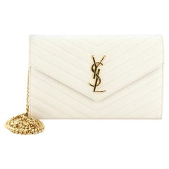 Saint Laurent Classic Monogram Wallet on Chain Matelasse Chevron Leather