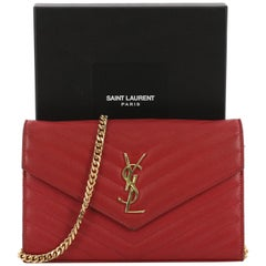Saint Laurent Classic Monogram Wallet on Chain Matelasse Chevron Leather Medium