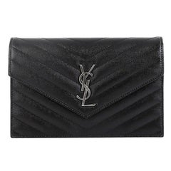 Saint Laurent Classic Monogram Wallet on Chain Matelasse Chevron Leather Small