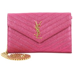 Saint Laurent Classic Monogram Wallet on Chain Matelasse Chevron Metallic