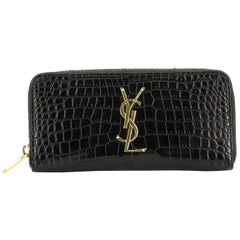 Saint Laurent Classic Monogram Zip Around Wallet Crocodile Embossed Leather