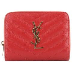 Saint Laurent Classic Monogram Zip Around Wallet Matelasse Chevron Leather