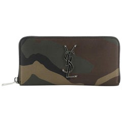 Saint Laurent Classic Monogram Zip Around Wallet Printed Leather