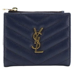 Saint Laurent Classic Monogram Zipped Card Case Matelasse Chevron Leather