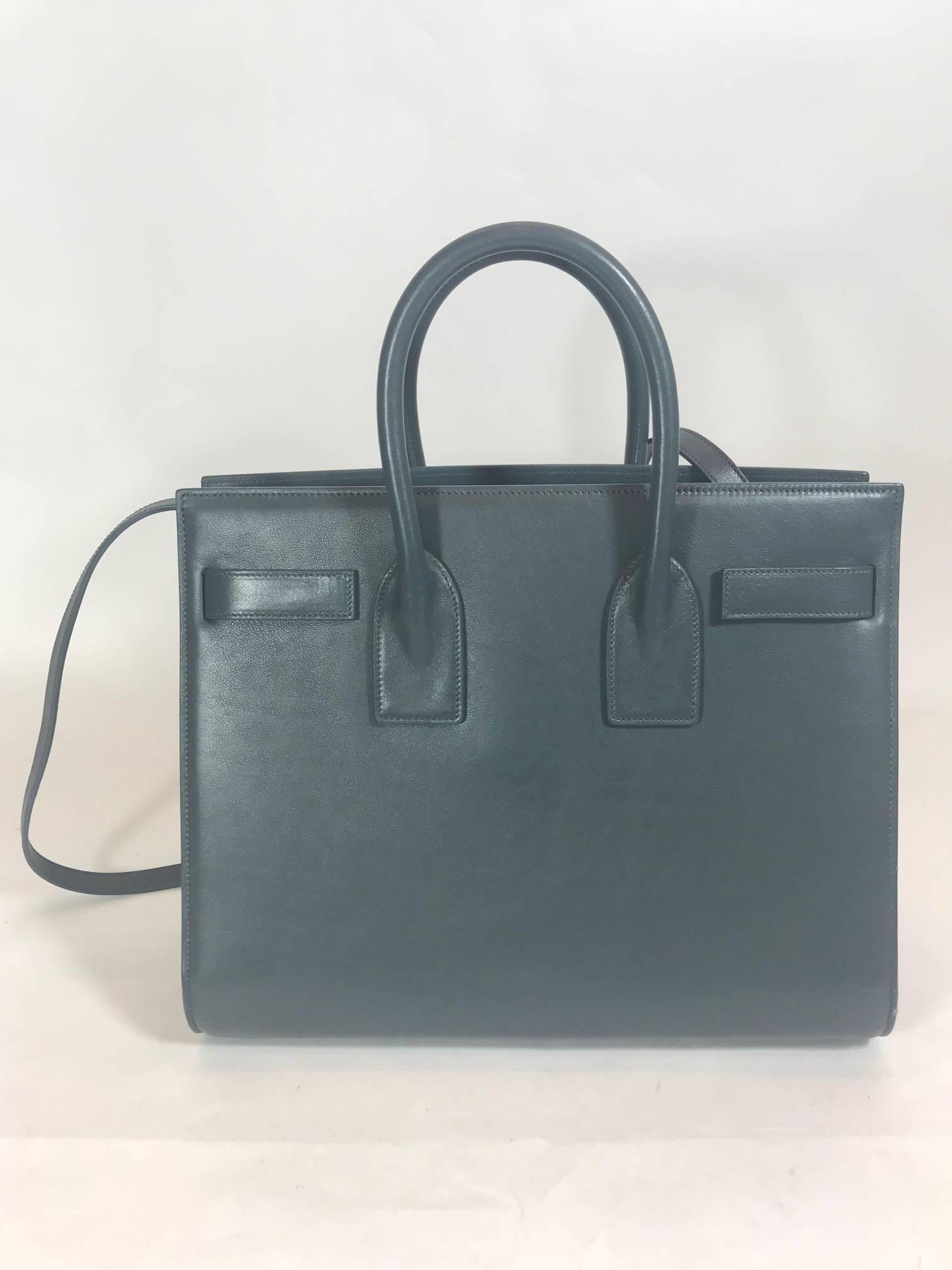 5856d7766c Saint Laurent Classic Small Sac De Jour Bag In Petrol Leather For Sale at  1stdibs