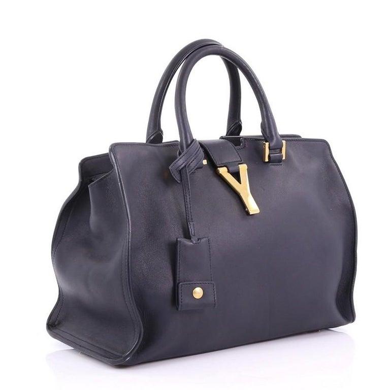 Black  Saint Laurent Classic Y Cabas Leather Small For Sale