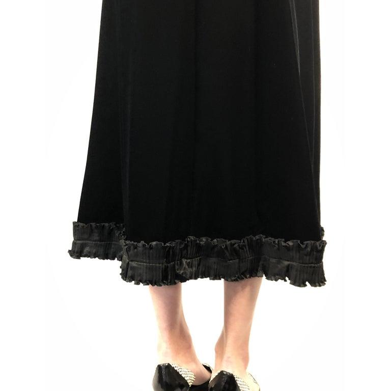 Black Saint Laurent collectable black iridescent velvet evening dress. Circa 1970s For Sale