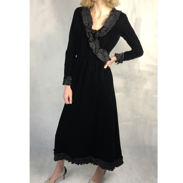 Saint Laurent collectable black iridescent velvet evening dress. Circa 1970s In Good Condition For Sale In London, GB