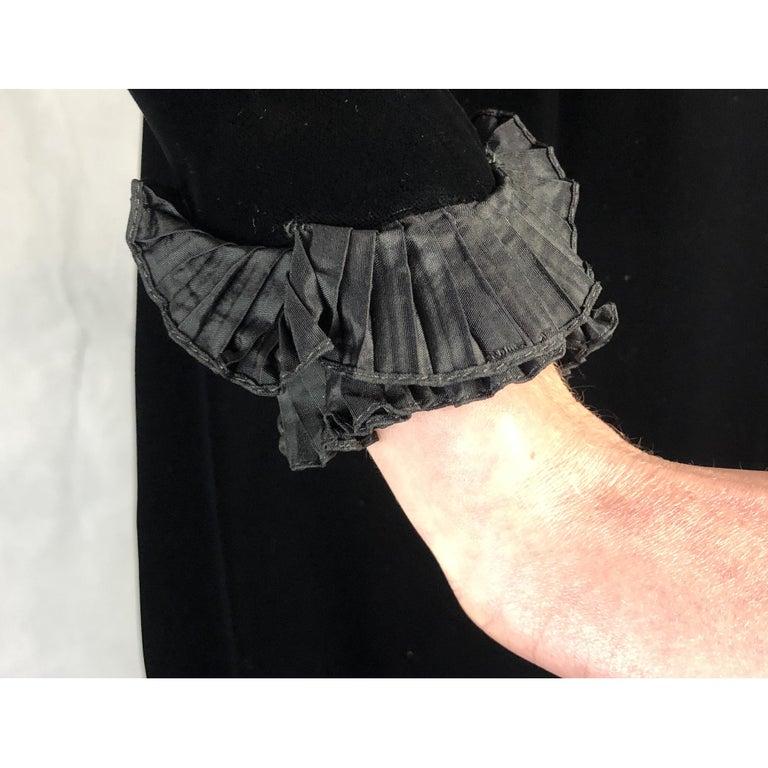 Women's Saint Laurent collectable black iridescent velvet evening dress. Circa 1970s For Sale